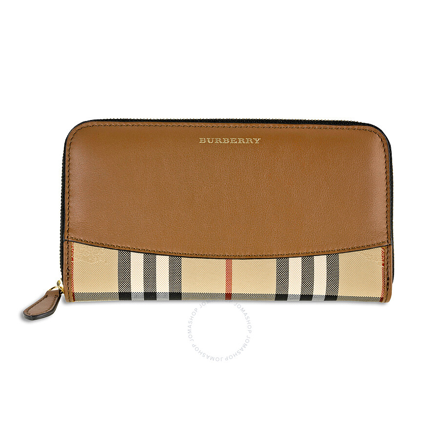 d1251fdb7699 Burberry Elmore Horseferry Check and Leather Zip-Around Wallet - Tan Item  No. 39824551