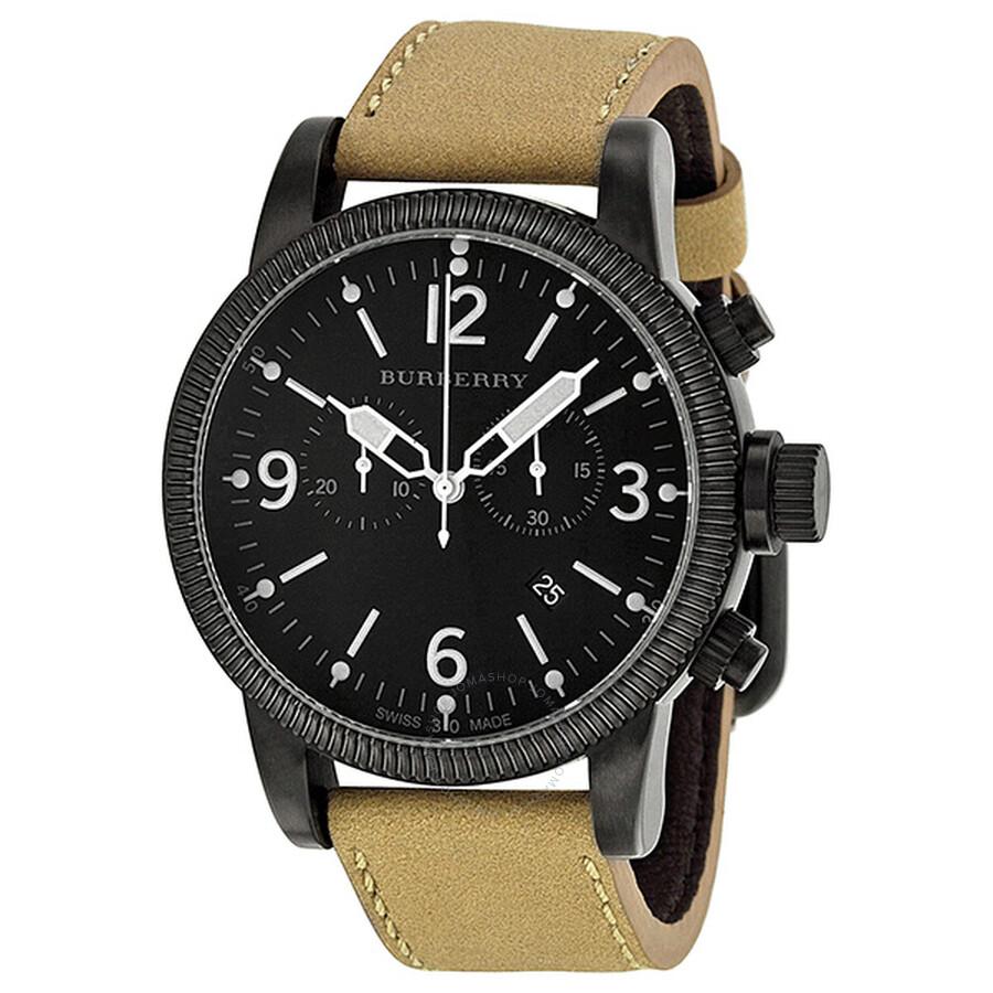 Burberry Endurance Chronograph Black Dial Tan Leather Strap Men s ... ae95dd54133