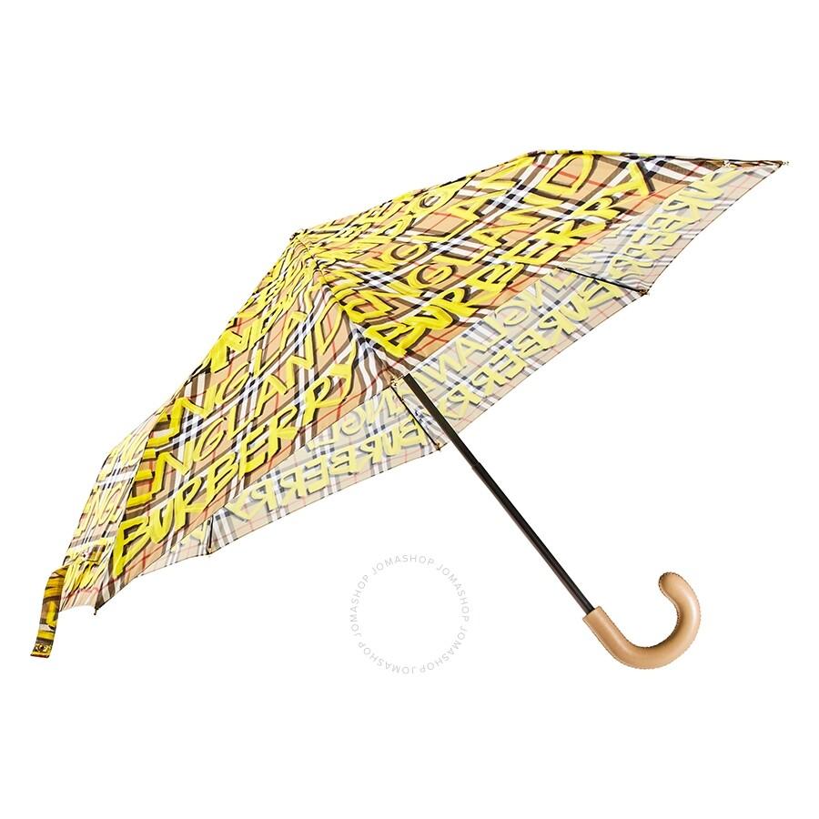 Burberry Graffiti Vintage Check Print Folding Umbrella