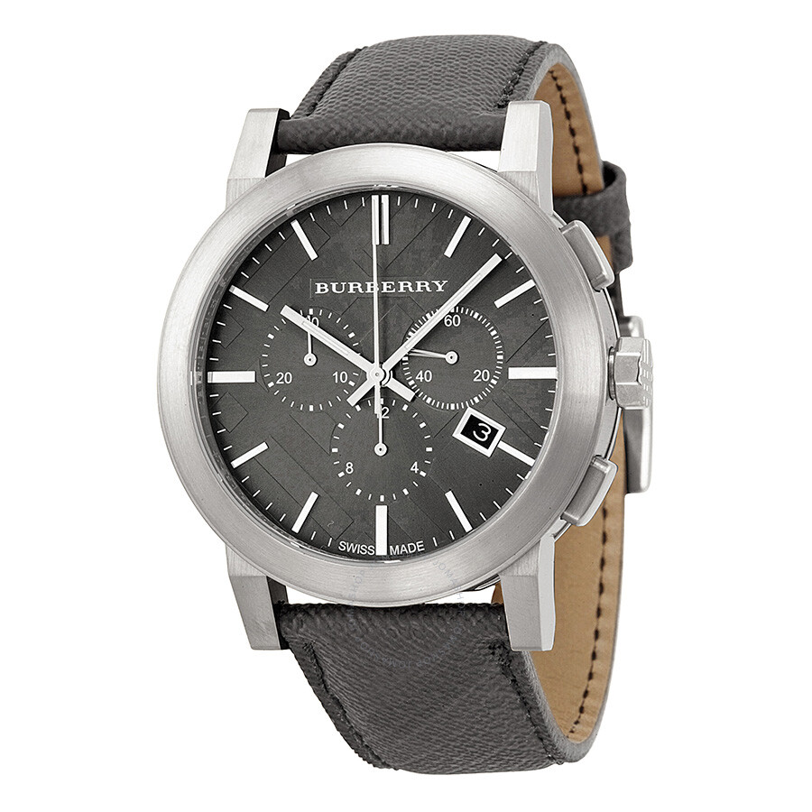 Burberry grey dial black leather men 39 s watch bu9362 burberry watches jomashop for Burberry watches