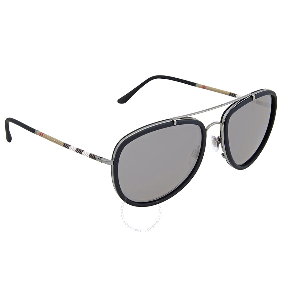 ab9d7d39a48 Burberry Grey Mirror Polarized Aviator Sunglasses - Burberry ...