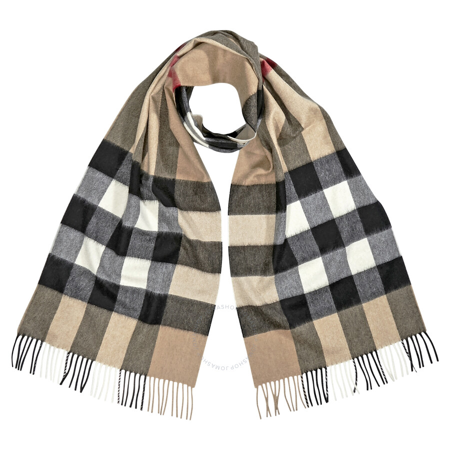 ever popular buy best authentic Burberry Half Mega Check Cashmere Scarf