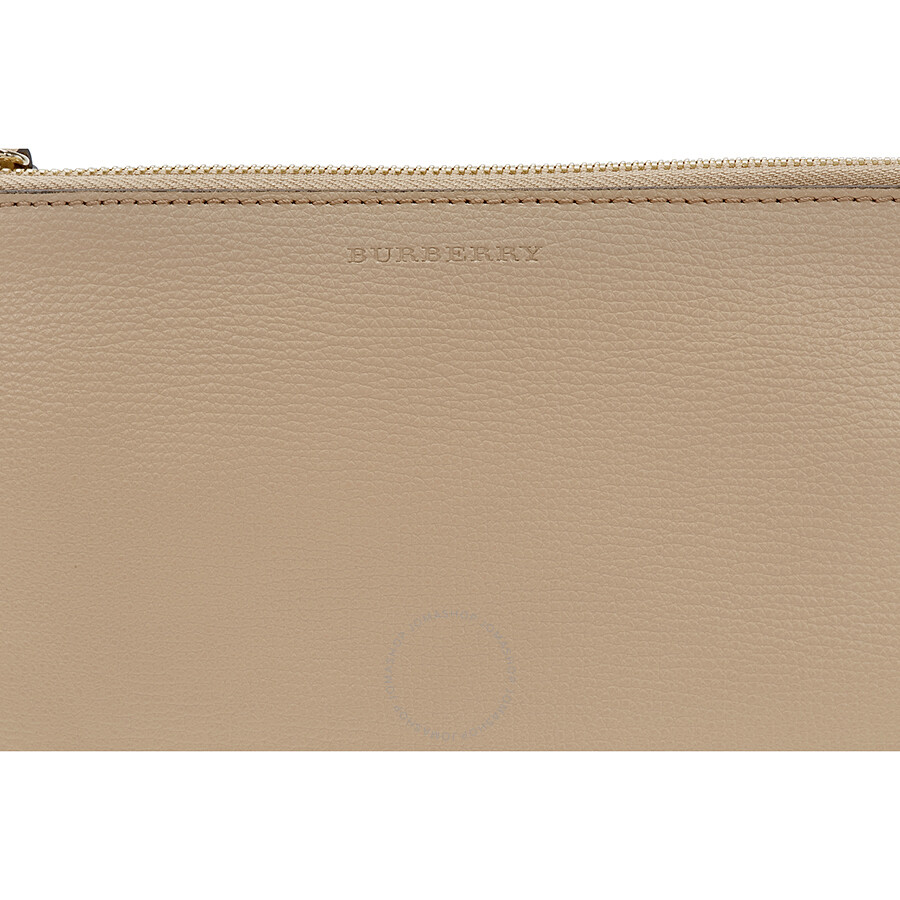 f59c23890ebc Burberry Haymarket Check and Leather Pouch - Mid Camel - Burberry ...