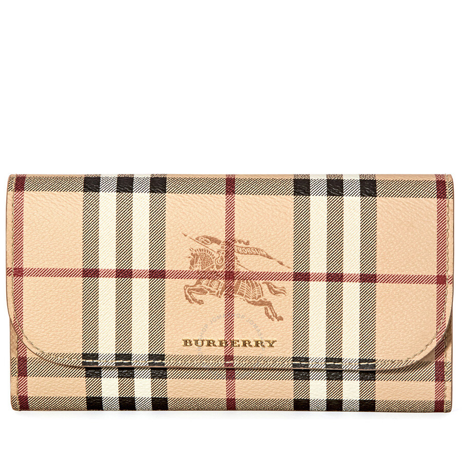 2d8e1c6014b4 Burberry Haymarket Check and Leather Wallet- Mid Camel Item No. 4060085