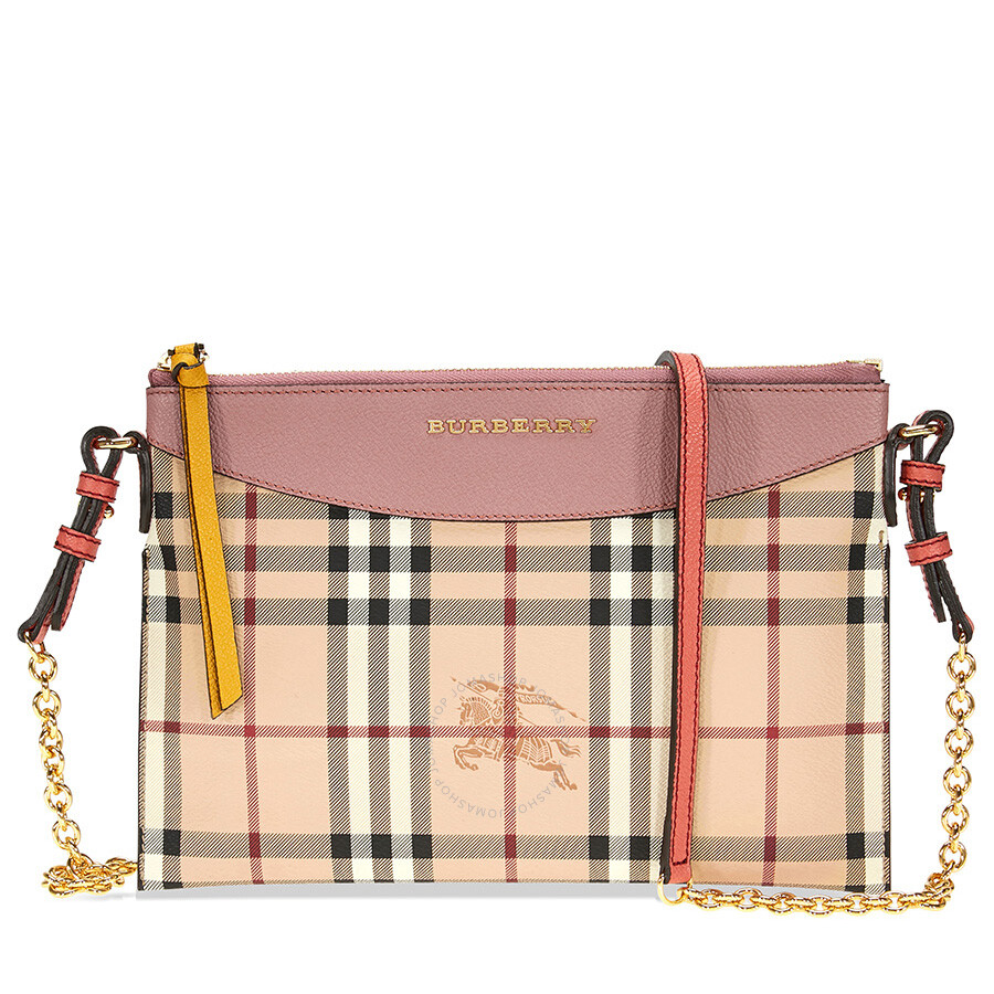 4deb60b6e2b Burberry Haymarket Check and Two Tone Leather Clutch - Dusty Pink / Multi  Item No. 4055609