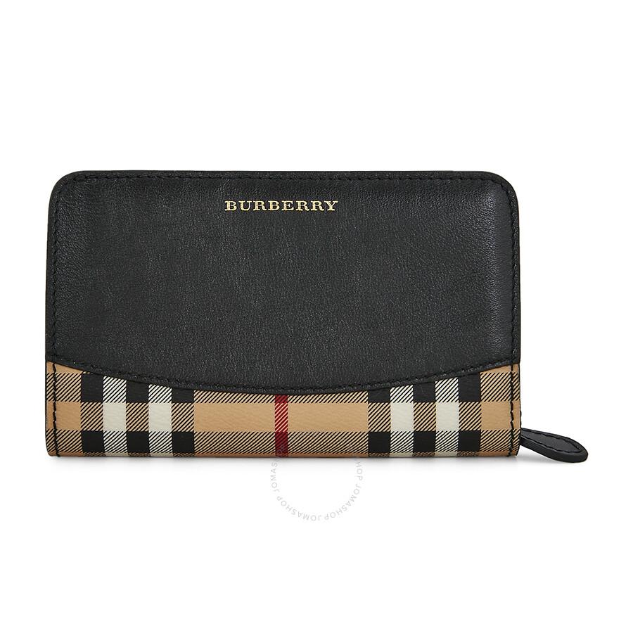 af3cca4a8fa5 Burberry Haymarket Check Wallet - Black - Burberry Handbags ...