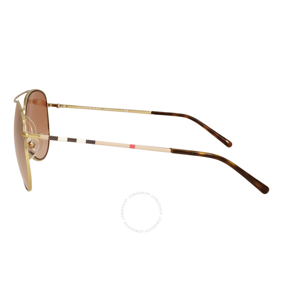 6b376d6972f2 ... Burberry Heritage House Check Aviator Sunglasses - Gold Brown Gradient  ...