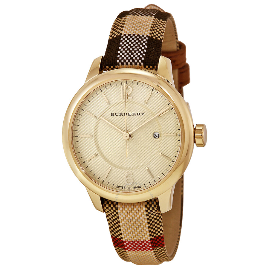 Burberry honey check stamped dial honey check fabric coated leather ladies watch bu10104 for Burberry watches