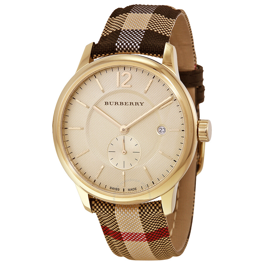 Burberry honey dial honey check fabric coated leather unisex watch bu10001 burberry watches for Burberry watches