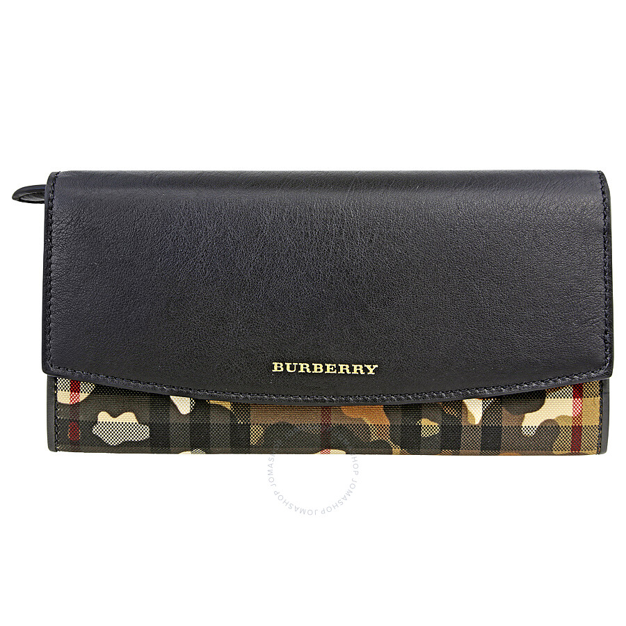 Burberry Horseferry Check And Camouflage Continental Wallet Honey Black