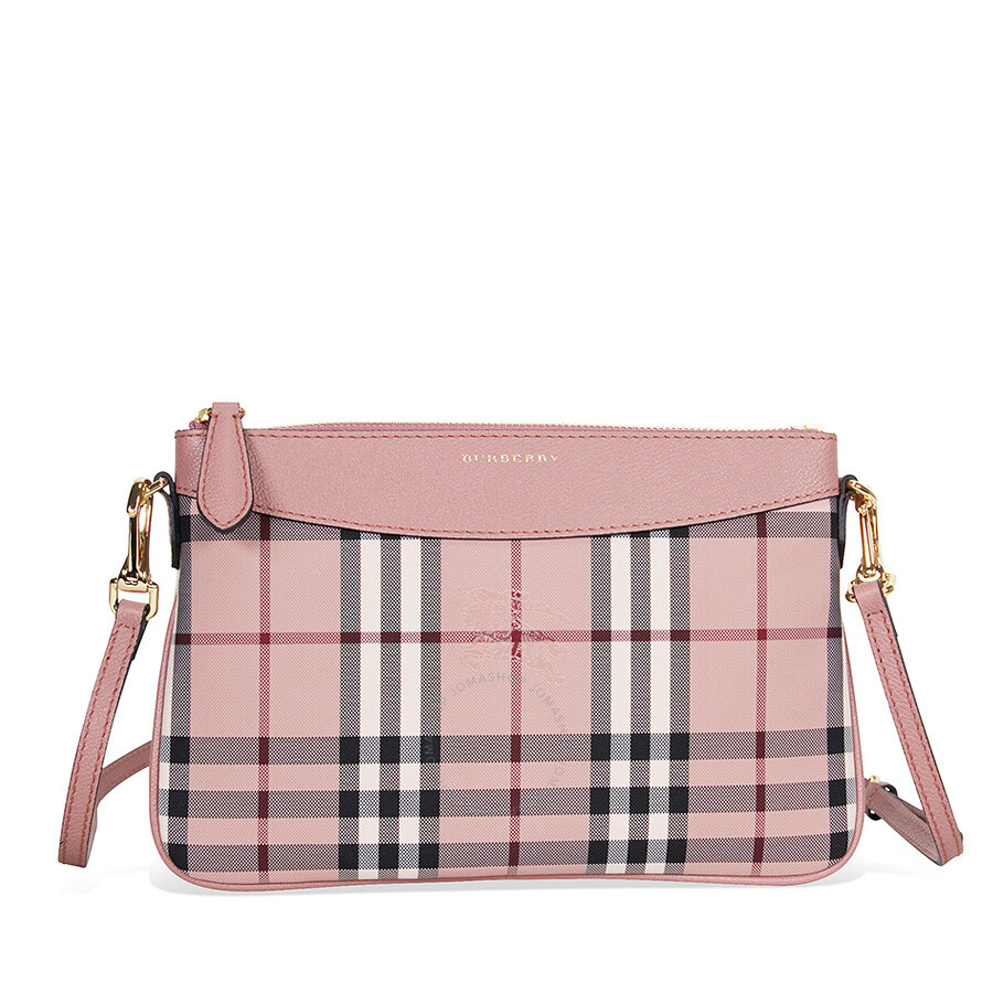 9eb02520edcb Burberry Horseferry Check and Leather Clutch - Ash Rose Dusty Pink Item No.  4041271
