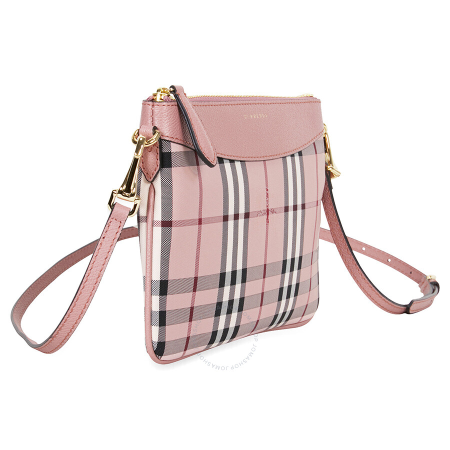 3c332602df4e Burberry Horseferry Check and Leather Clutch - Ash Rose Dusty Pink ...