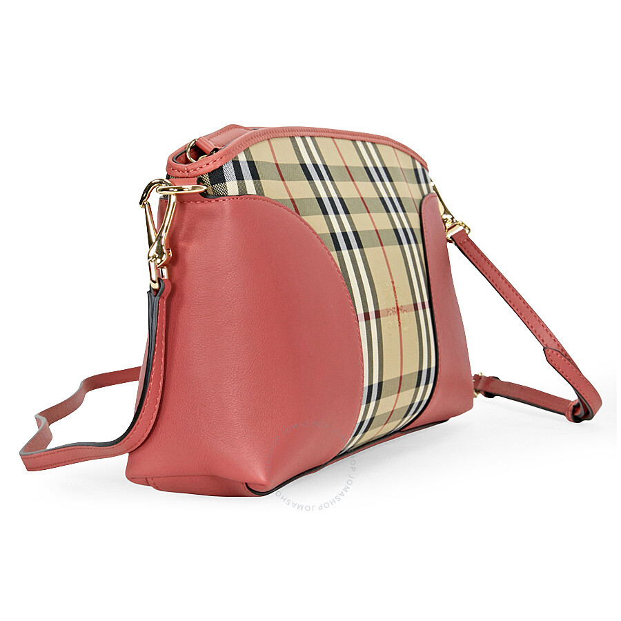95315745b20f Burberry Horseferry Check and Leather Clutch - Honey Antique Rose ...