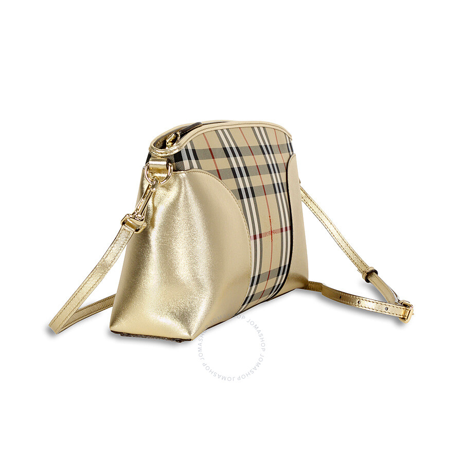 077dfe17c0d2 Burberry Horseferry Check and Leather Clutch - Honey Gold - Burberry ...