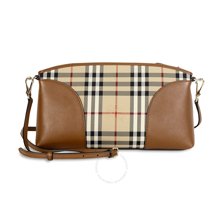 42fafffc471d Burberry Horseferry Check and Leather Clutch - Honey Tan - Burberry ...
