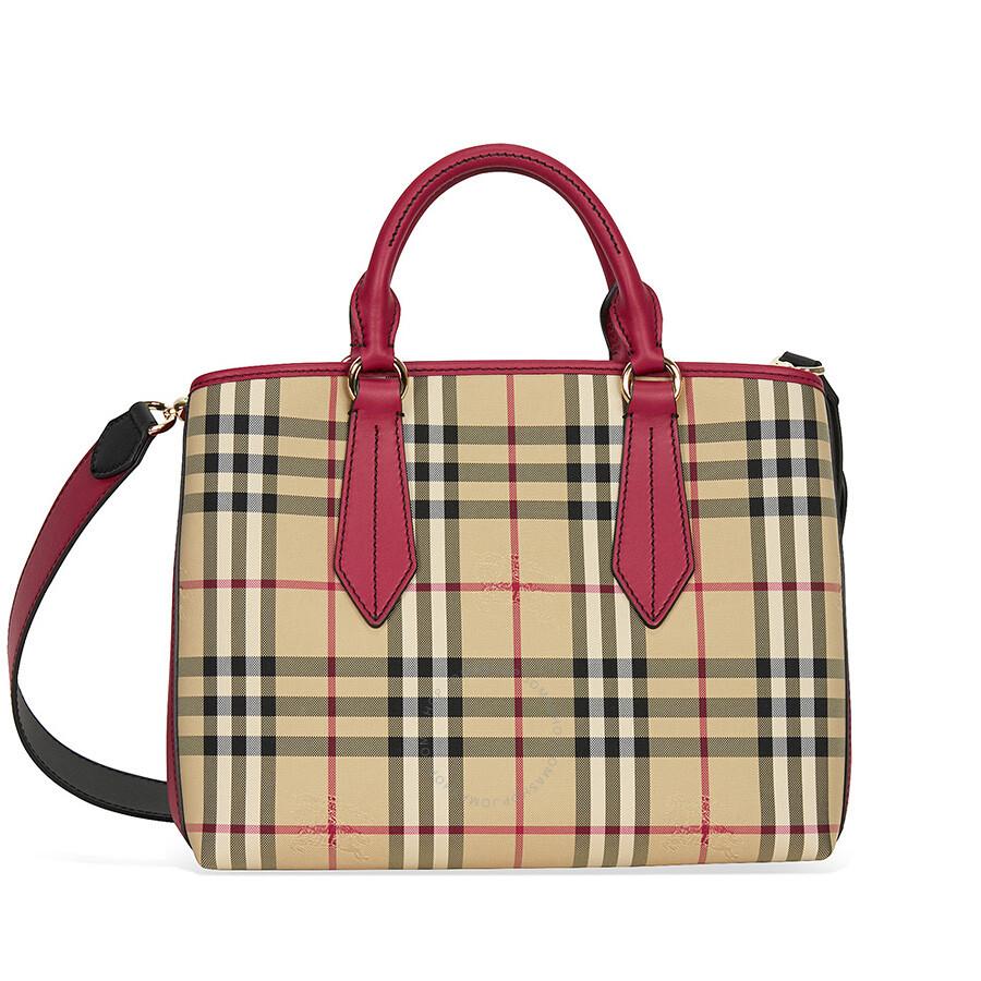 Burberry Horseferry Check and Leather Trim Tote - Honey Parade Red Item No.  4042835 67e68bfe51cde