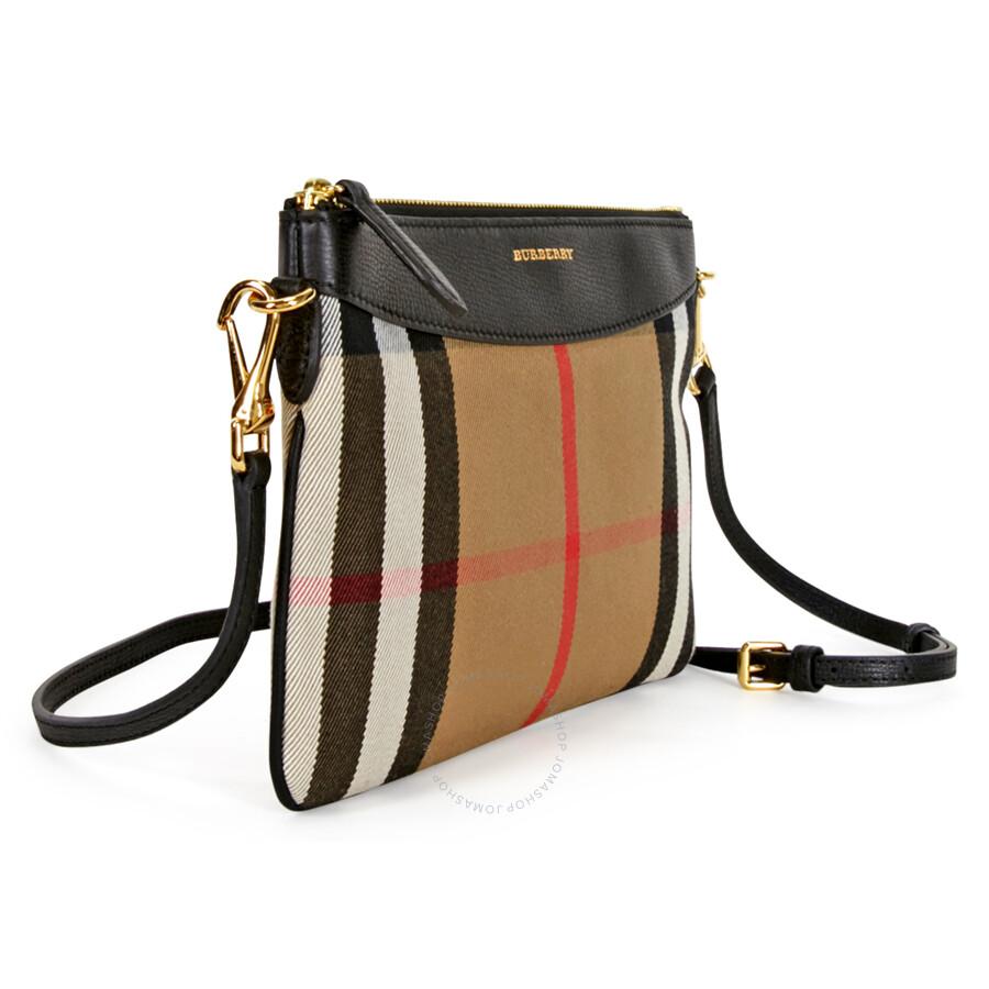 76409e1a8487 Burberry Horseferry Check Leather Clutch - Black - Burberry Handbags ...