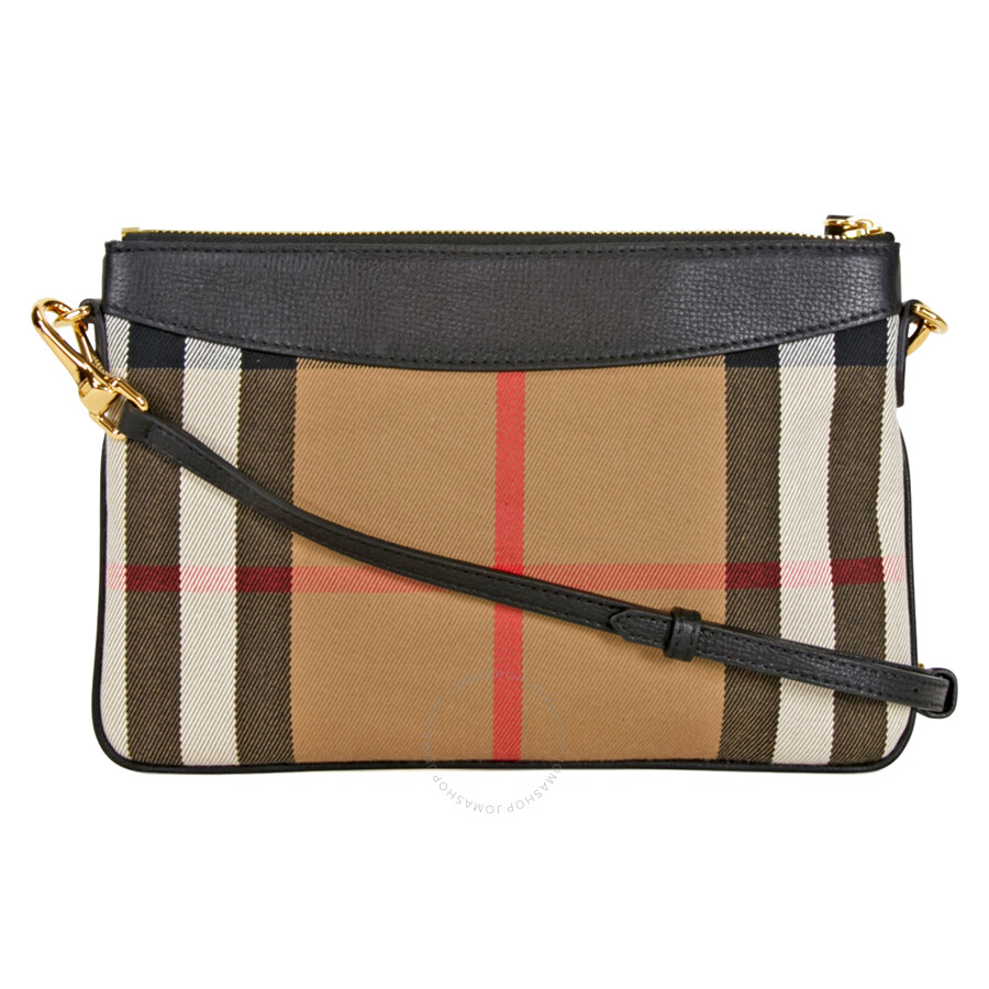 Burberry Horseferry Check Leather Clutch - Black