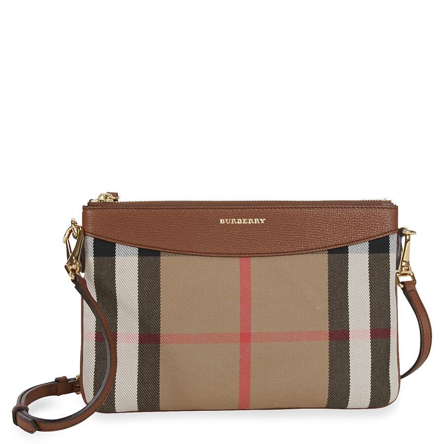 40496ee0e98b Burberry Horseferry Check Leather Clutch - Tan - Burberry Handbags ...