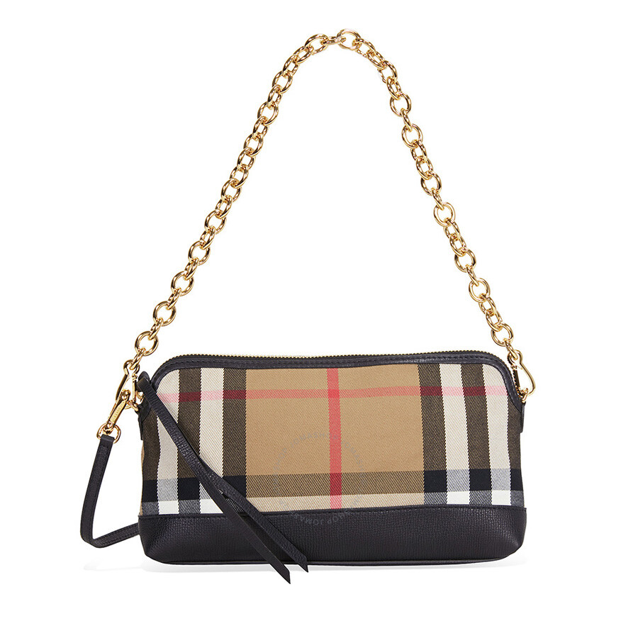 Burberry House Check and Leather Clutch Bag - Black - Burberry ... 373b10b0dc807