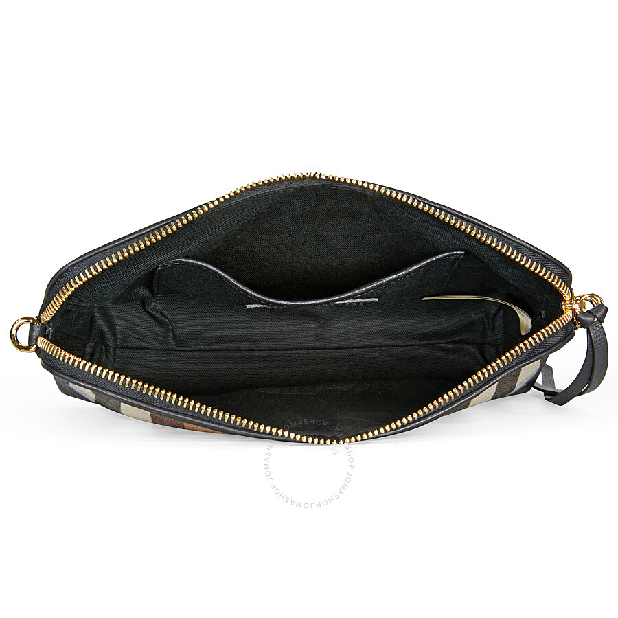 Burberry House Check and Leather Clutch Bag - Black - Burberry ... c56ba630ab826