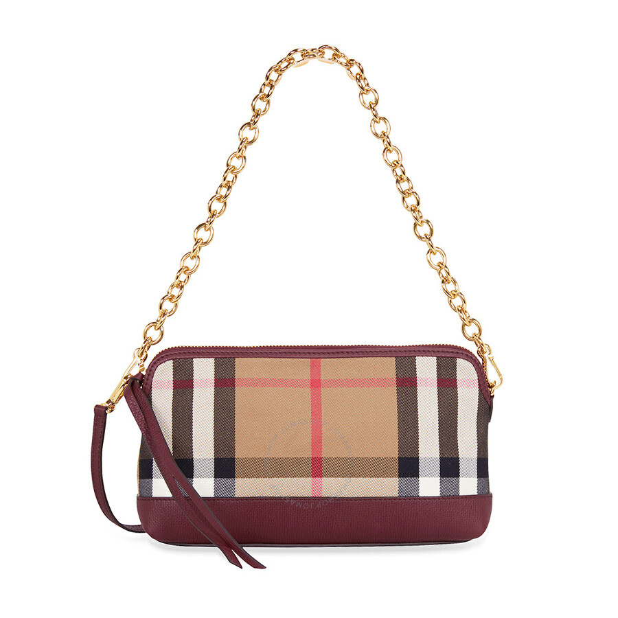 a18b011ffc2 Burberry House Check and Leather Clutch Bag - Mahogany Red ...