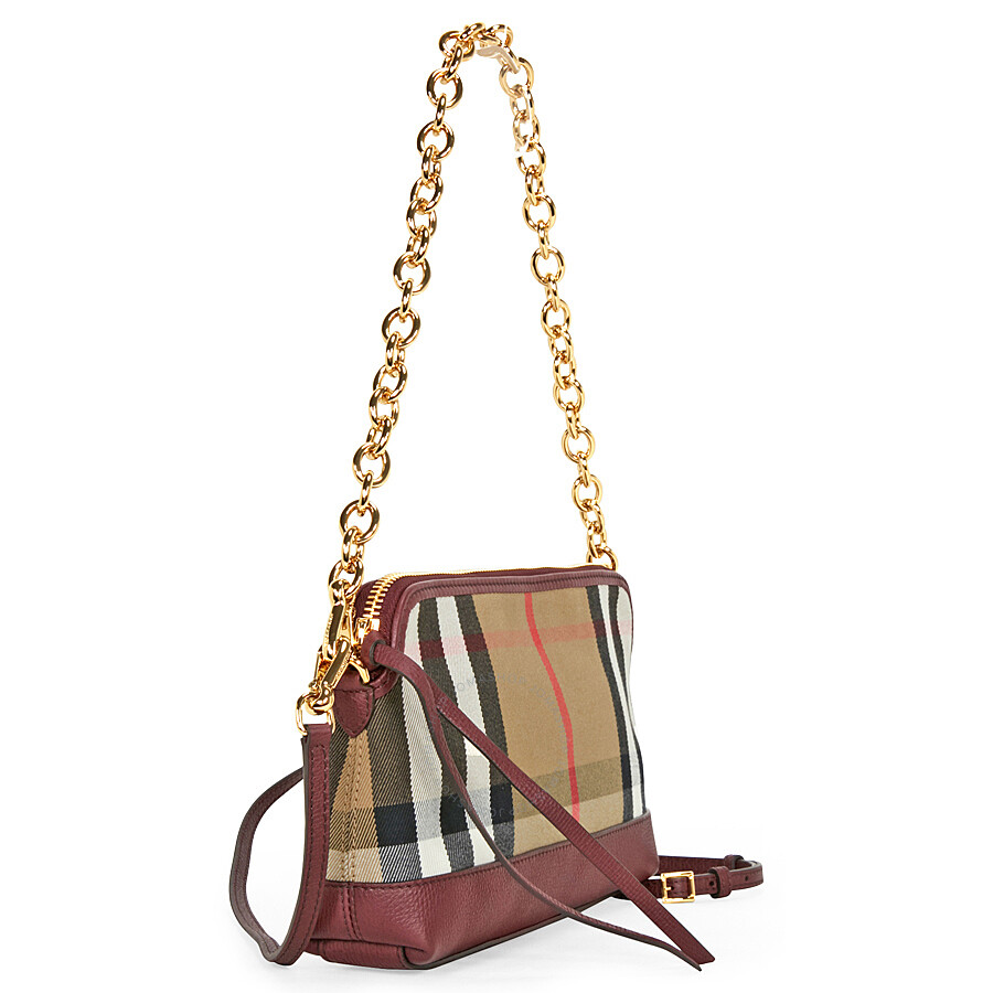 62e2b3ab5a41 Burberry House Check and Leather Clutch Bag - Mahogany Red ...