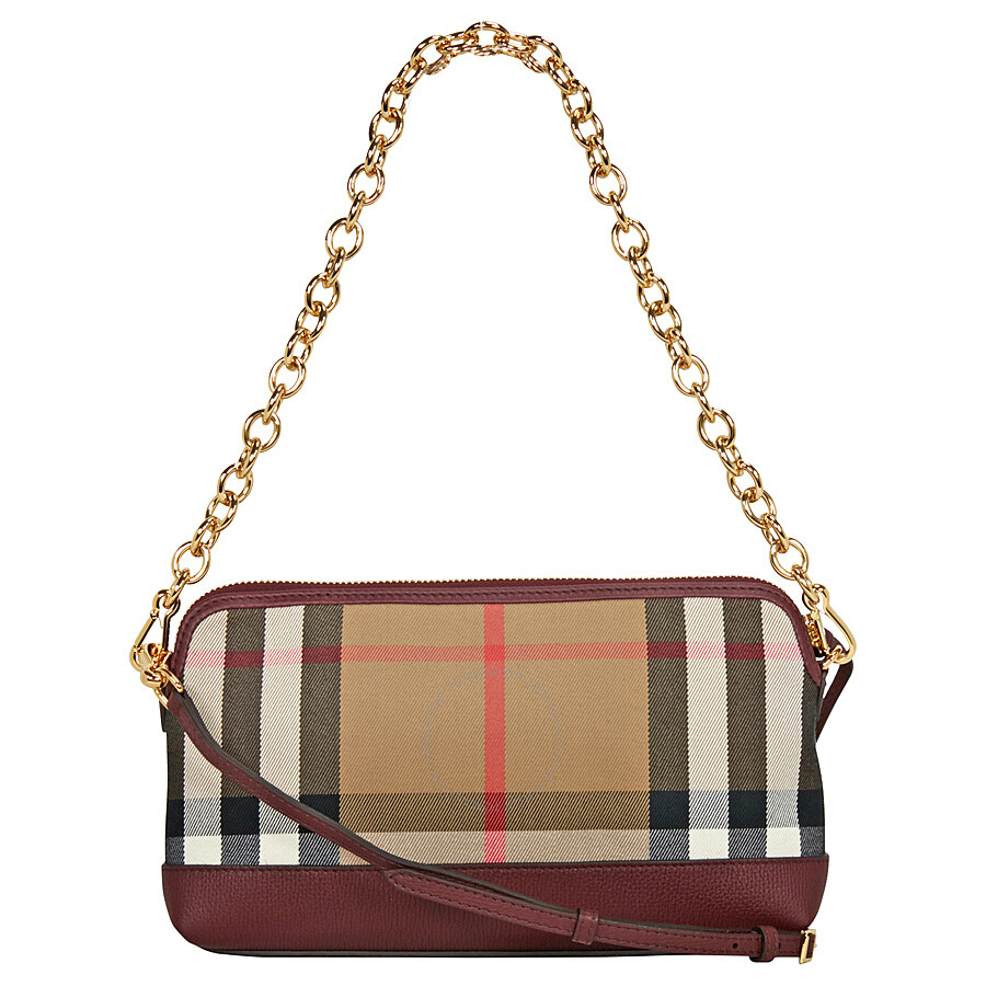 Burberry House Check and Leather Clutch Bag - Mahogany Red Item No. 4014743 f53083f57633a