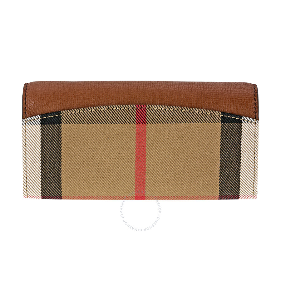 7797c0a4b41 Burberry House Check and Leather Continental Wallet - Tan - Burberry ...