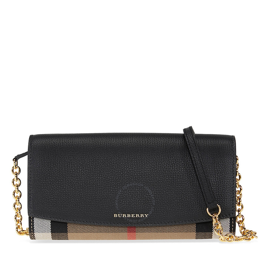 4f6b43142450 Burberry House Check and Leather Wallet with Chain - Black Item No. 4048250