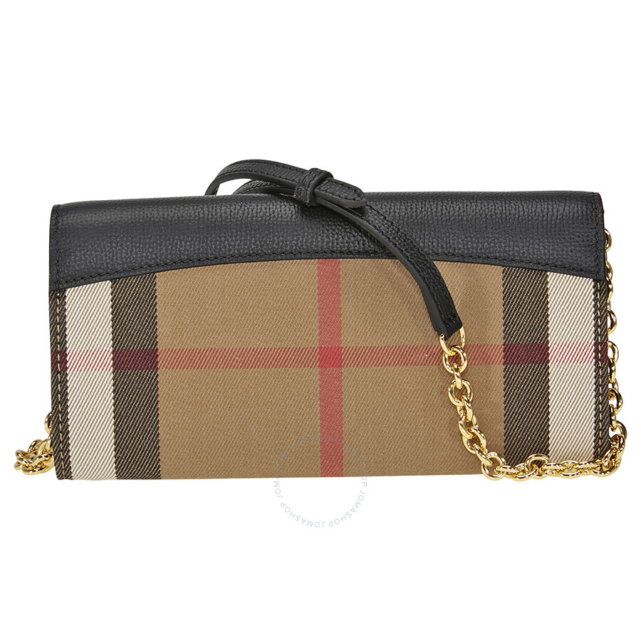 5ad215ba1798 ... Burberry House Check and Leather Wallet with Chain - Black ...