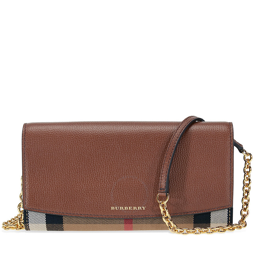 f4f52683a88a Burberry House Check and Leather Wallet with Chain - Tan Item No. 4048253