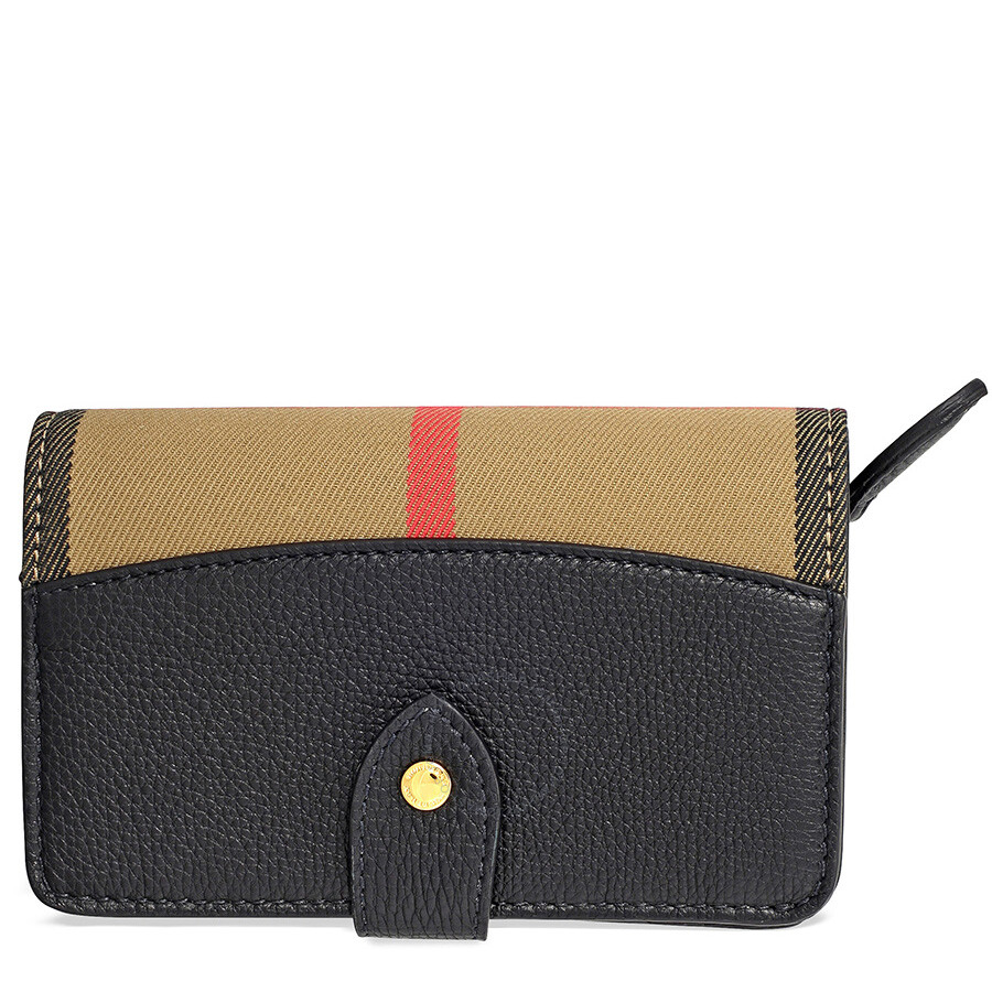 3ff5234ed9a1 Burberry House Check Leather Wallet - Black - Burberry Handbags ...