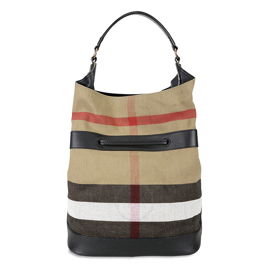 48ced74c364 Burberry Large Ashby Check Canvas Leather Tote - Black Item No. 3997850
