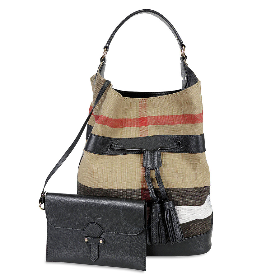 498fca9c2116 Burberry Large Ashby Check Canvas Leather Tote - Black - Burberry ...