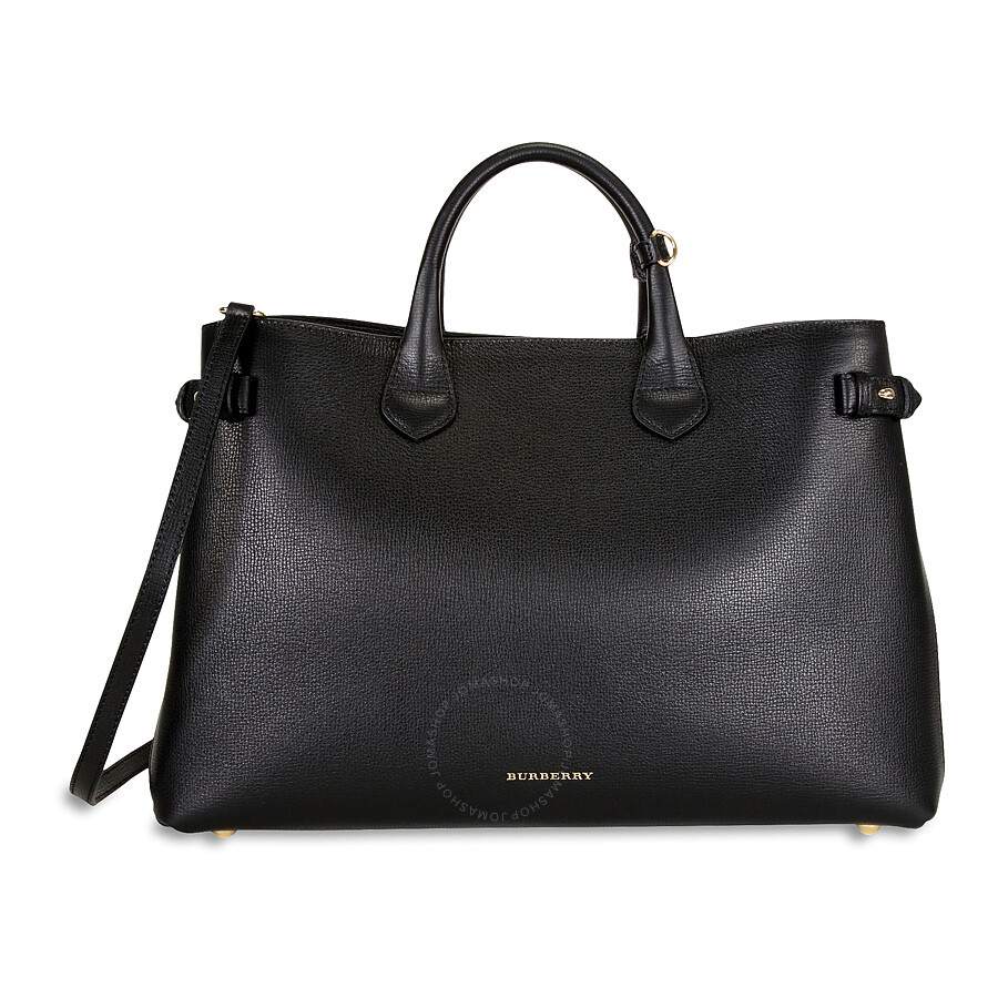 Burberry Large Banner Leather Tote Black