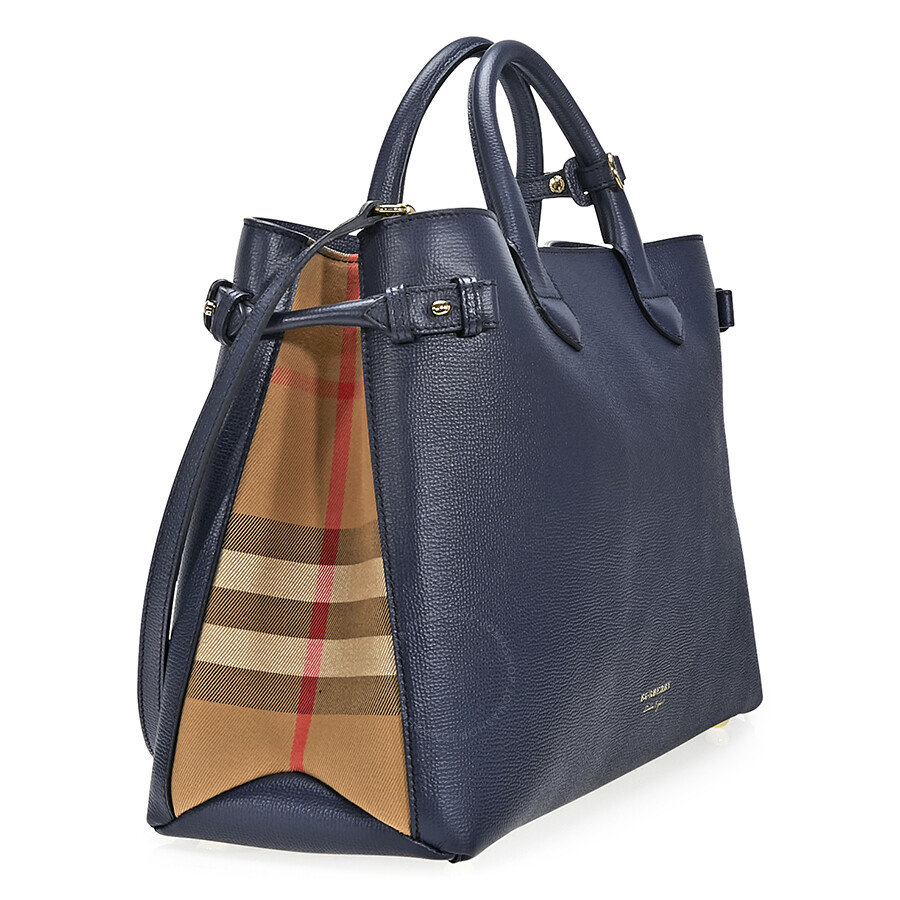 21be4fd657 Burberry Large Banner Leather Tote - Ink Blue - Burberry Handbags ...