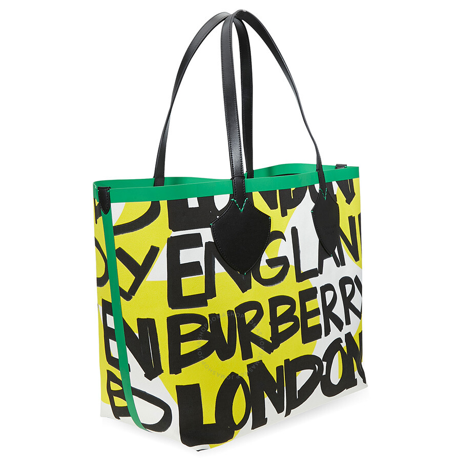 7a90387fbf5f Burberry Large Graffiti Print Cotton Tote- Black Green - Burberry ...
