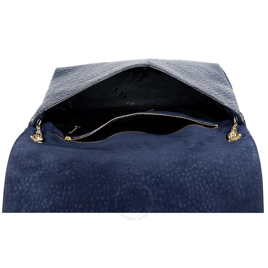 8f0e14f140c3 Burberry Large Grain Leather Shoulder Bag - Blue Carbon - Burberry ...