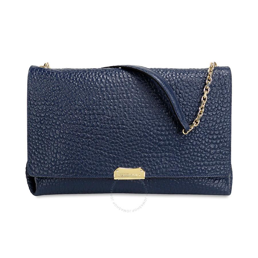 456b12005ca2 Burberry Large Grain Leather Shoulder Bag - Blue Carbon Item No. 39935511