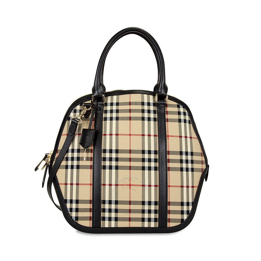 6bf88521f35f Burberry Large Orchard Horseferry Check Bowling Bag - Honey Black Item No.  3938873