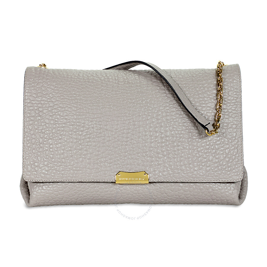 1a97b18d5b6e Burberry Large Signature Grain Leather Shoulder Bag - Pearl Grey Item No.  39935521