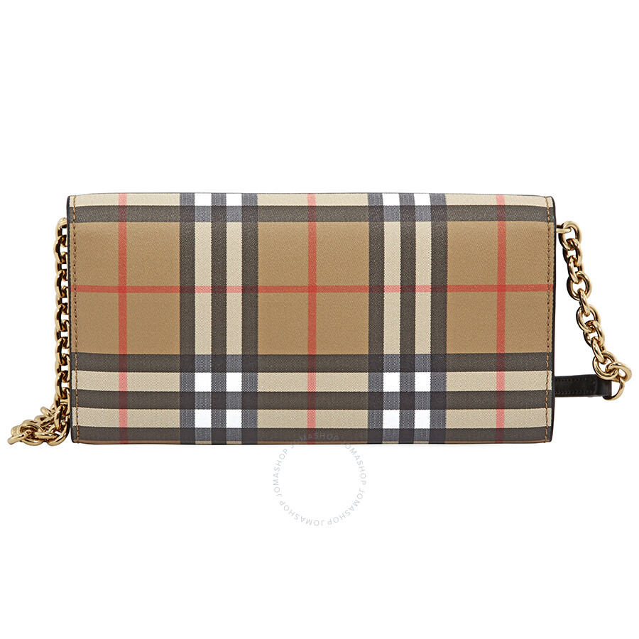 b858d9b73929 Burberry Large Vintage Check Leather Wallet- Black - Burberry ...