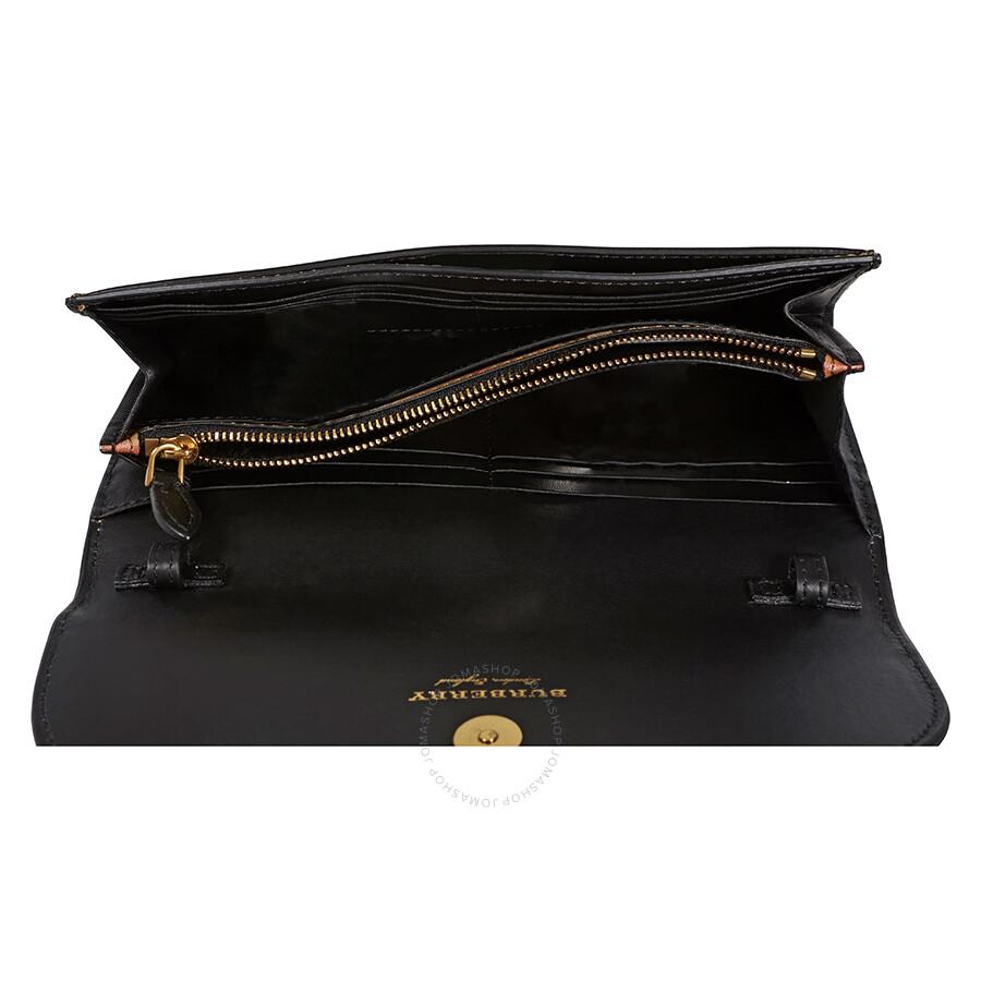 b858d9b73929 Burberry Large Vintage Check Leather Wallet- Black - Burberry ...