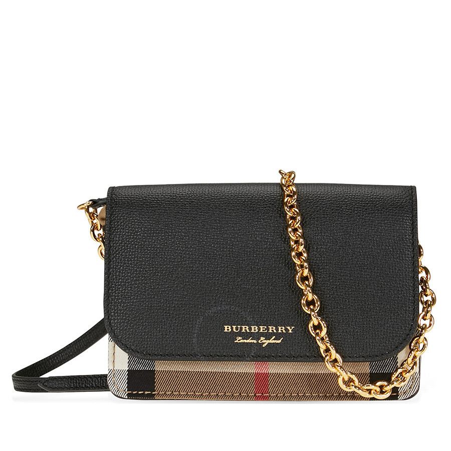 f1ef88e80a63 Burberry Leather and House Check Wallet - Black - Burberry Handbags ...