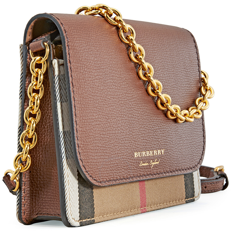 9504319bc93c Burberry Leather and House Check Wallet - Tan - Burberry Handbags ...