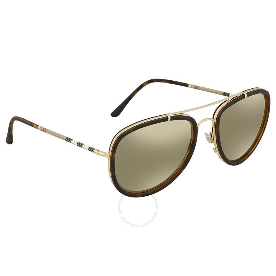 90d268d2f4fd Burberry Light Brown Mirror Dark Gold Aviator Sunglasses BE3090Q-10525A-58  ...