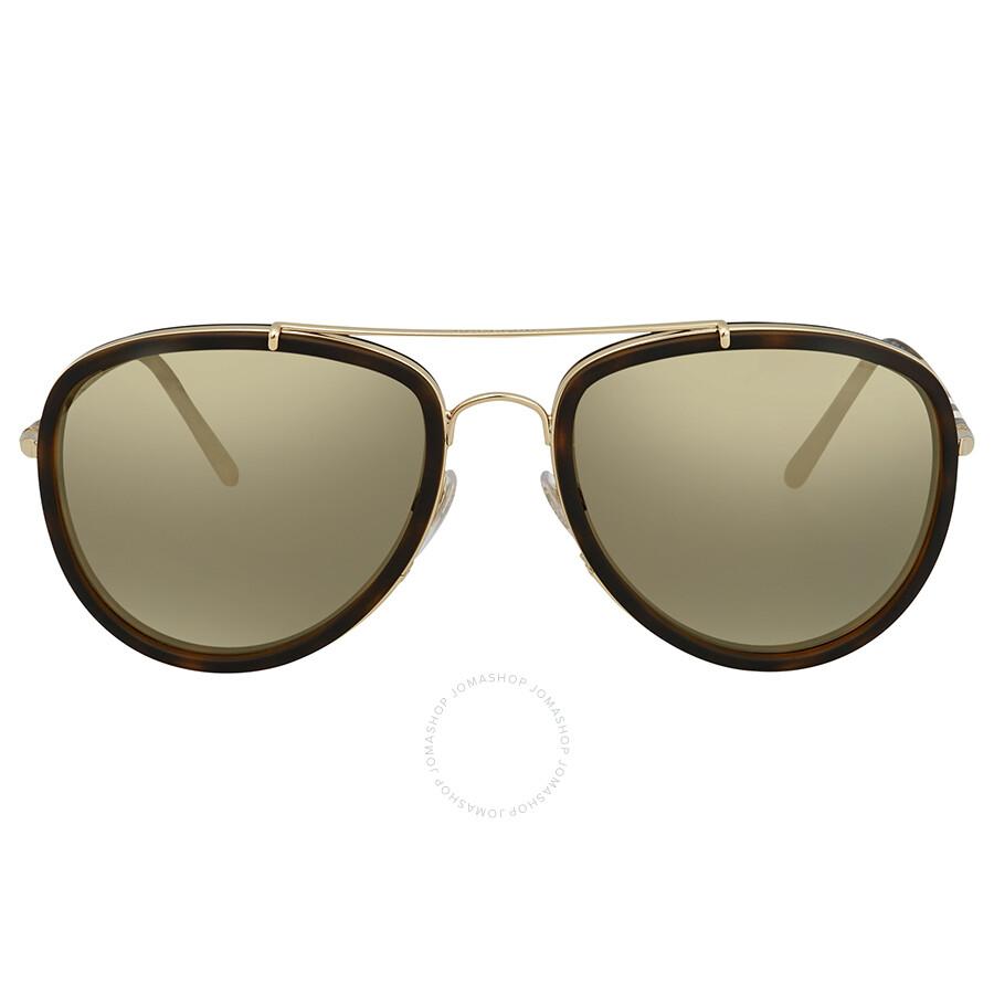 a47d4dced2d6 ... Burberry Light Brown Mirror Dark Gold Aviator Sunglasses  BE3090Q-10525A-58 ...