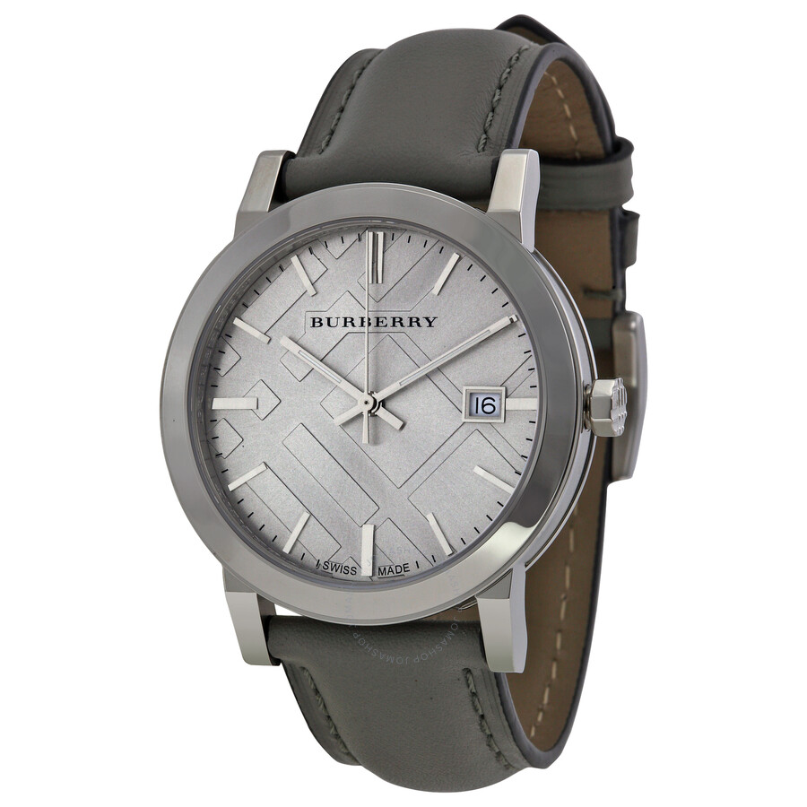 Burberry light grey dial grey leather ladies watch bu9036 burberry watches jomashop for Burberry watches