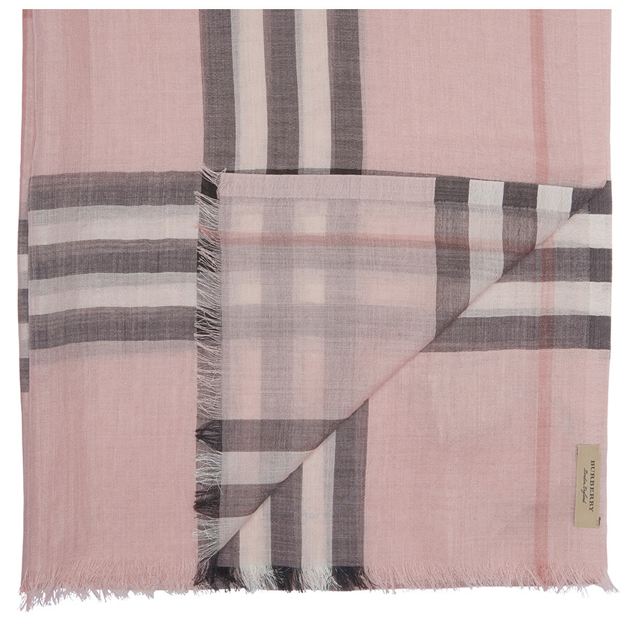 Burberry Lightweight Check Wool and Silk Scarf - Ash Rose - Apparel ... aba10f900a